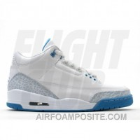 WS Air Jordan Retro 3 White Harbor Blue Boarder Blue 315296-142 Online 6422i