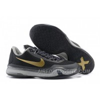 Men's NK Kobe 10 X Elite Low Basketball Shoes Gold Black New