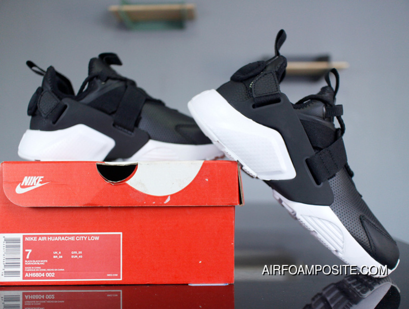 NIke Air Huarache City Low AH6804-002 Black And White Leather 5 2018 Spring  New ff5fd1b01