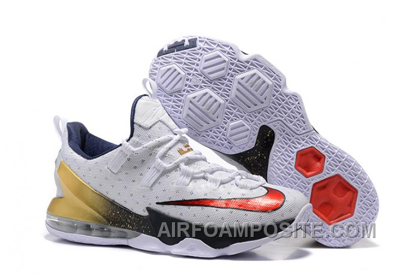"2016 Nike LeBron 13 Low ""USA"" Olympic White/University Red-Obsidian-Metallic Gold 8acHk"