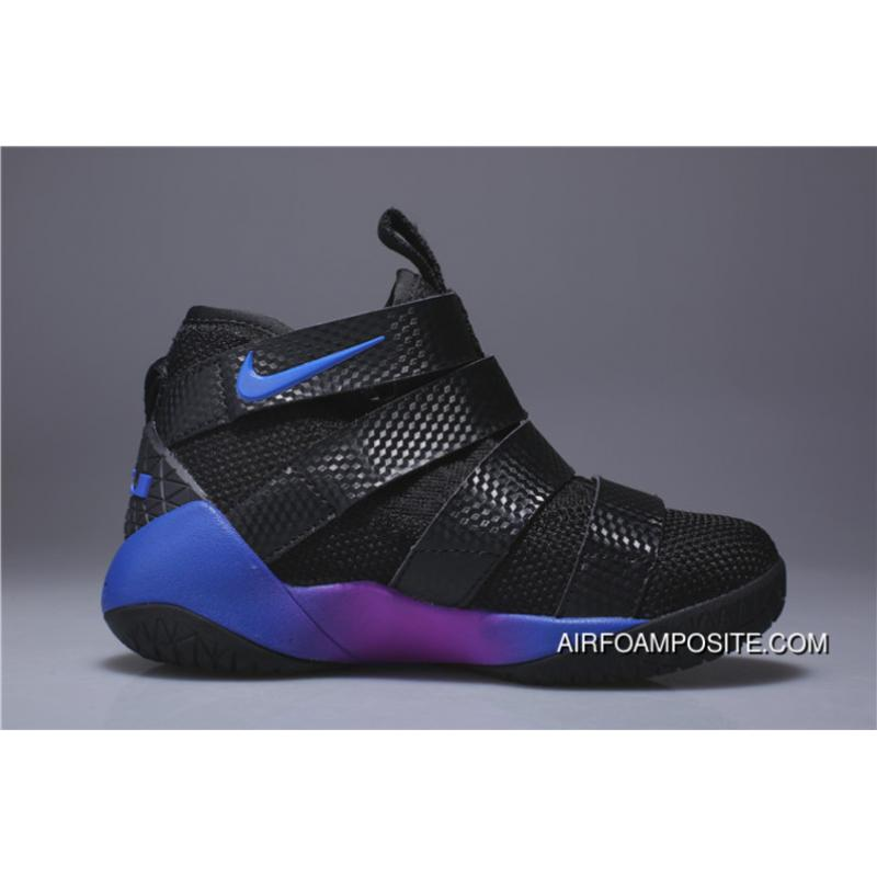 online store ac64a c2e6c Kids Nike Lebron Soldier 11 Black Blue Purple 2018 Discount