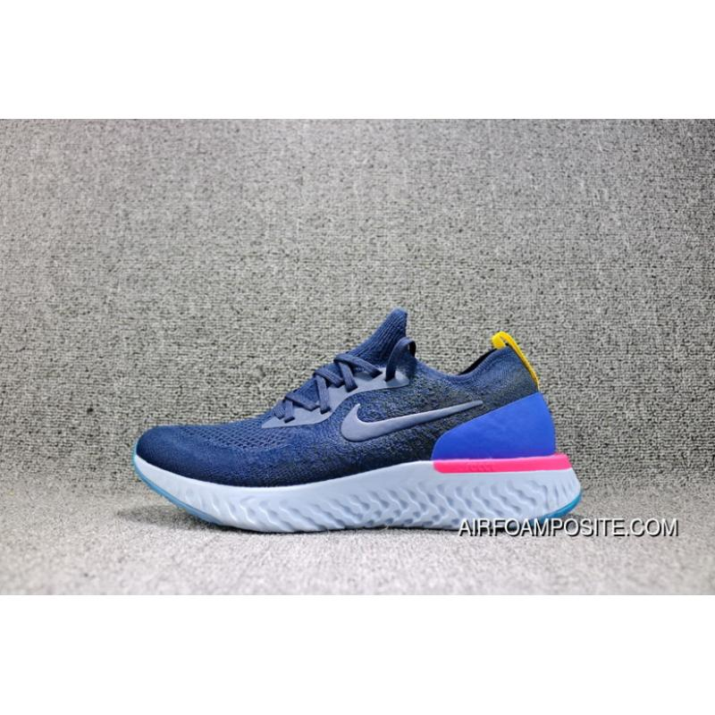 e69ead8593a5d USD  90.90  309.07. Nike Epic React Flyknit Foamposite Woven Navy Blue  Light Casual Running Shoes AQ0067-400 Women ...