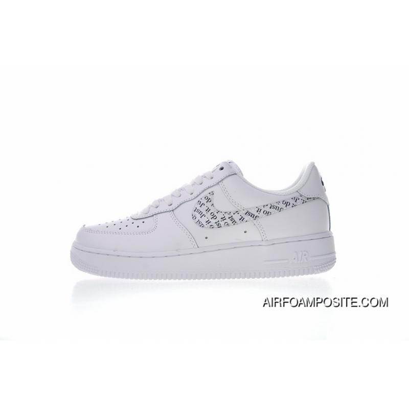 design intemporel 5ecae e1a3b Just Do It Nike Air Force 1 07 LV8 Classic One White Skin Transparent  Letters Hook BQ5361-100 Free Shipping