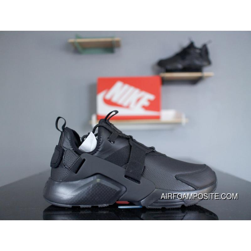 1bb447d2791c ... NIke Air Huarache City Low AH6804-001 All Black Leather 5 2018 Spring  Insole New  Mens And Womens ...
