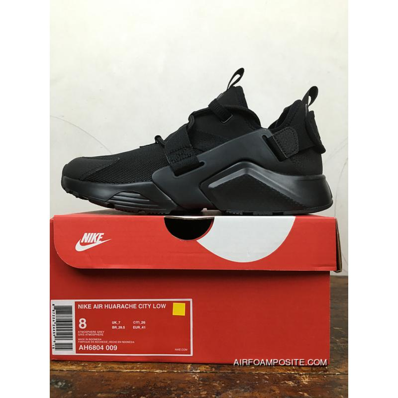 ce626e43bb86 ... Nike Huarache 5 AIR CITY LOW All Black Heel Velcro Can Change After  AH6804-009 ...