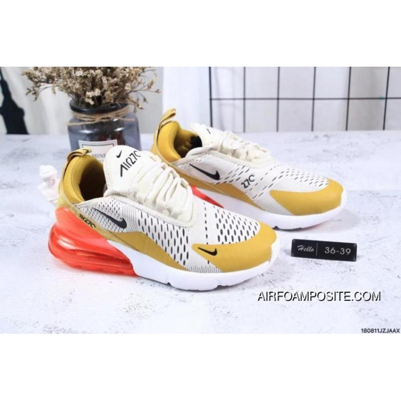sale retailer e8591 f8271 Nike Jacquard Air Max 270 Flyknit Half-palm Cushion Yellow Red Outlet