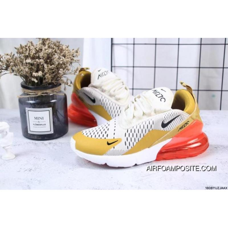 e7ed3d222047 ... Nike Jacquard Air Max 270 Flyknit Half-palm Cushion Yellow Red Outlet  ...