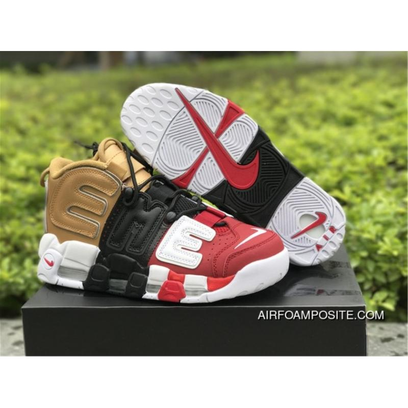 buy cheap 1a676 62476 2018 Supreme X Nike Air More Uptempo Tri-Color Black/Gold/Red Outlet