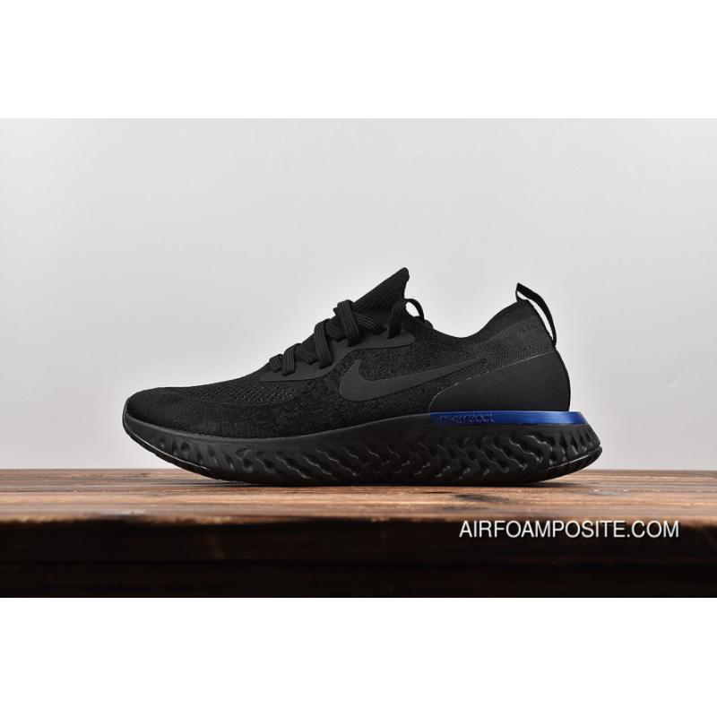 909eefb142a37 New Release Nike Epic React Flyknit Maria Foamposite Woven Running Shoes  All Black Blue Tail AQ0067-004 Women Shoes And Men Shoes