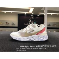 Nike Foamposite Epic React Flyknit Transparent Nets Beige White Lightweight Cushioning Jogging AQ1813339 Size Best
