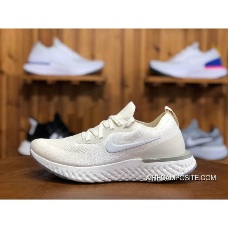 buy online c546b 0e1a3 New Release LUNAREPIC React Picking Nike Epic React Flyknit Foam Plastic  Woven Pure White Milk White Running Shoes Size AQ0070-201