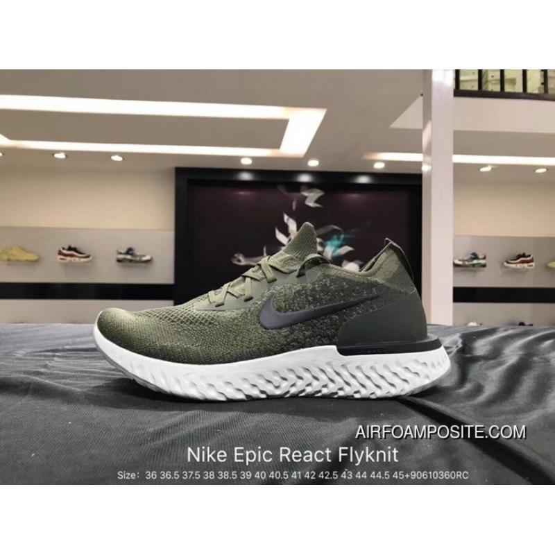 ... 9ace5 5d03b Nike Epic React Flyknit Foam Particles Knit Super Light  Quantity Jogging Shoes Olive Green f77c0de90e