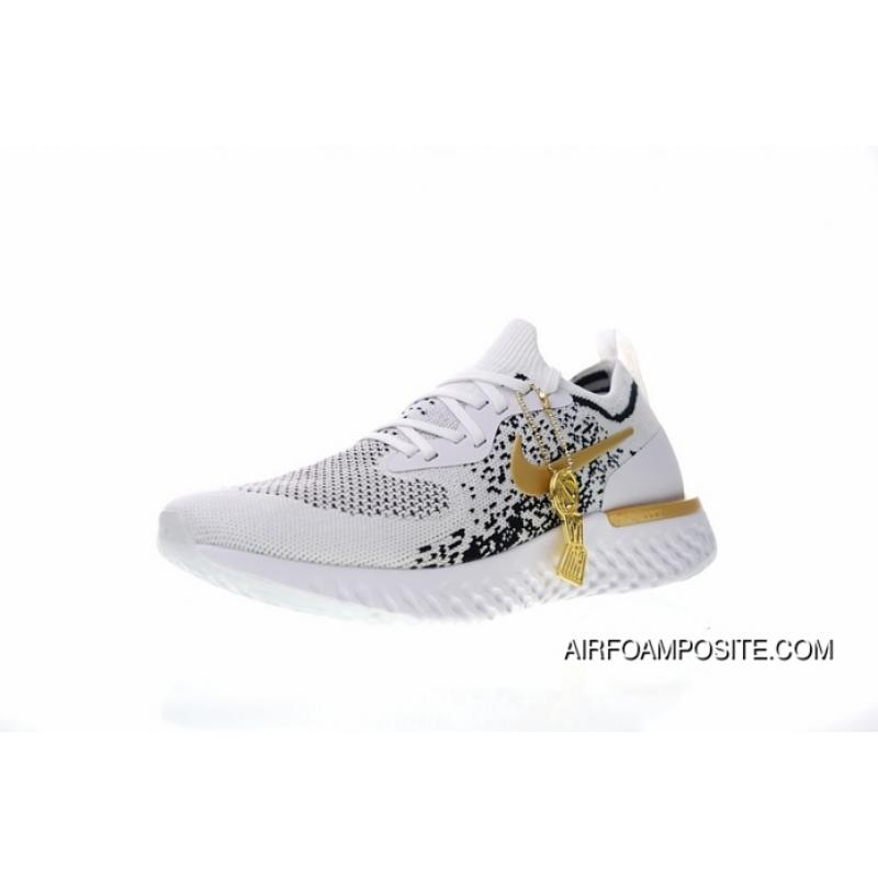 Men Shoes ID Customized Colorways Nike Epic Champions Meaning React Flyknit  ID Foam Particles Knit Super Light Quantity Jogging Shoes White Gold Black