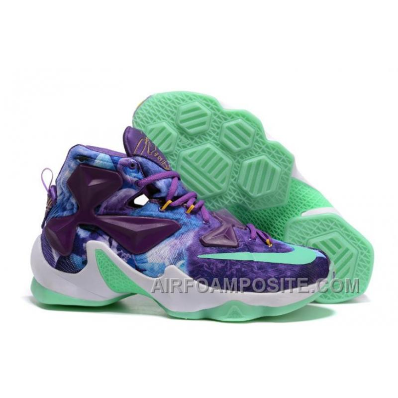 new product 131db c0016 Men Nike LeBron James 13 Galaxy Purple Turquoise Basketball Shoes ENHiS