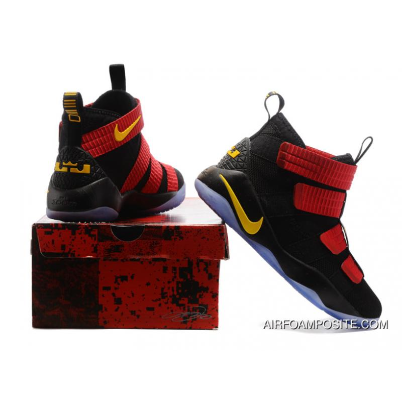 8f7ed2430c5c ... 2017 Nike LeBron Soldier 11 Black Red-Gold New Release ...