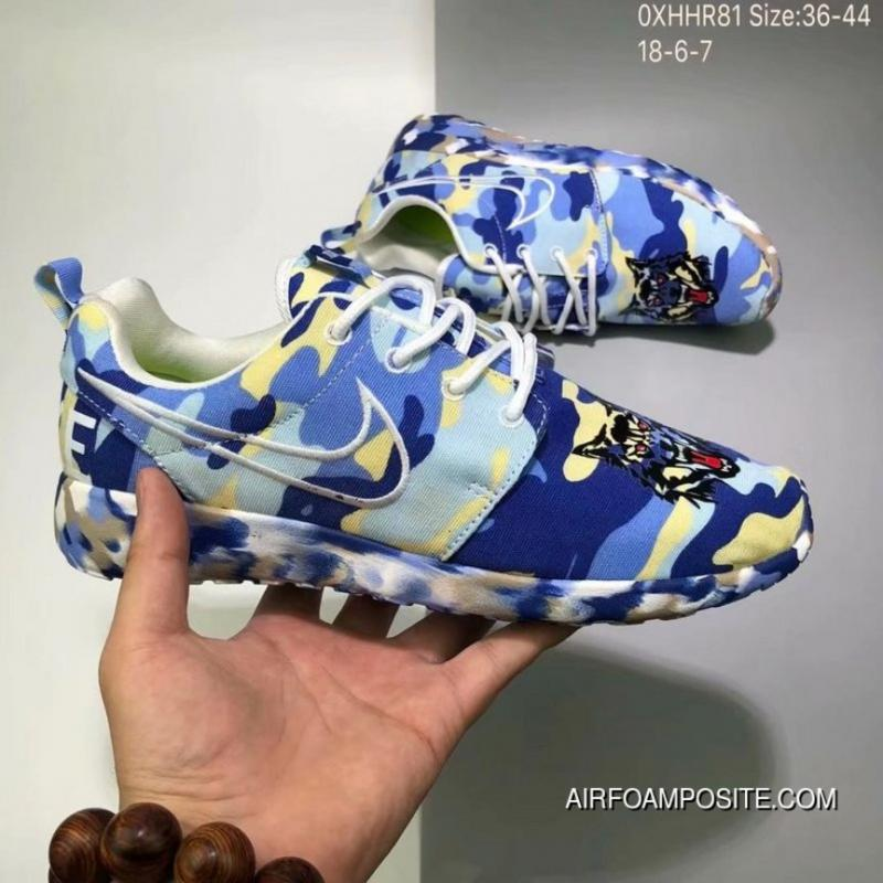 low priced 2958e 68a59 Nike Roshe Run 2018 Blue Camo Outlet