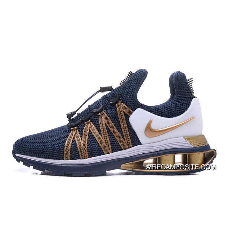 online store 283db 355ee NIKE SHOX 908 Navy Blue Gold 2018 Latest