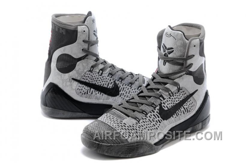 cheap nike kobe 9 elite detail high tops base grey black on sale