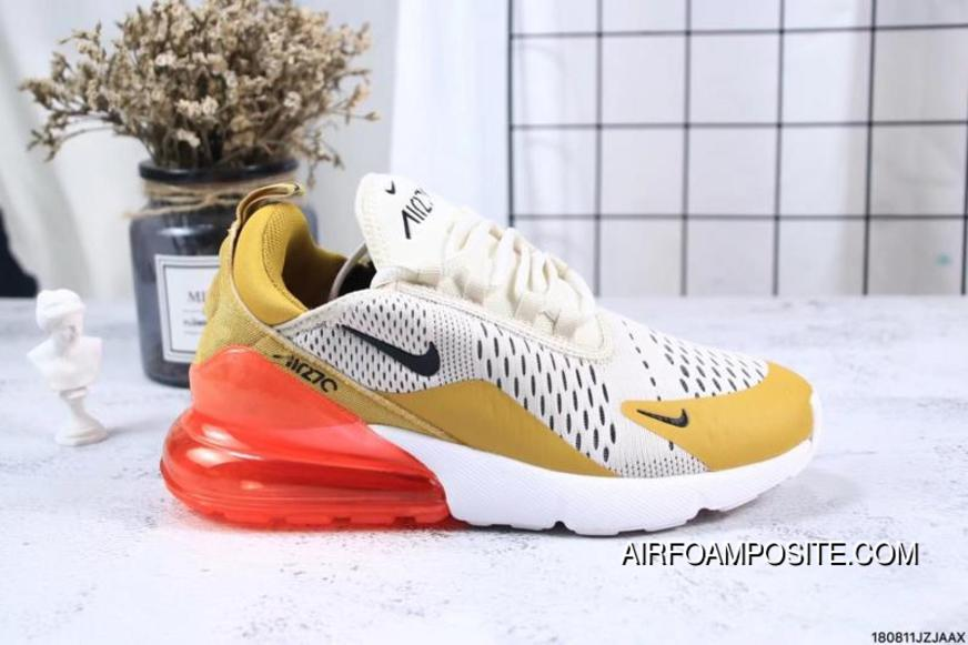 3be1e8c841f5 Nike Jacquard Air Max 270 Flyknit Half-palm Cushion Yellow Red Outlet
