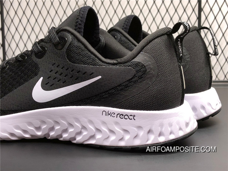 9d4e3f46c1439 AA1625-001 Nike Epic React Flyknit Foamposite Woven Light Casual Running  Shoes Black And White