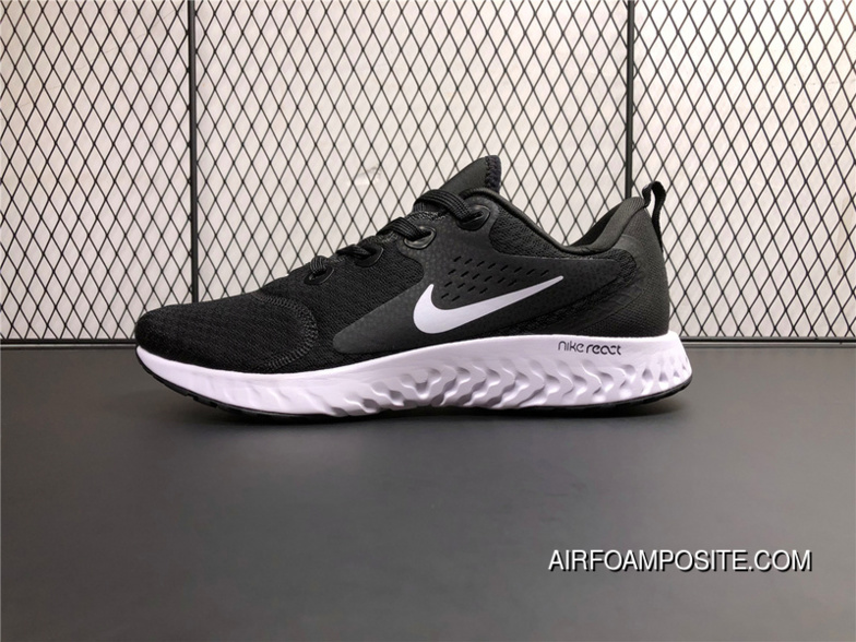 b67d36440e81 AA1625-001 Nike Epic React Flyknit Foamposite Woven Light Casual Running  Shoes Black And White