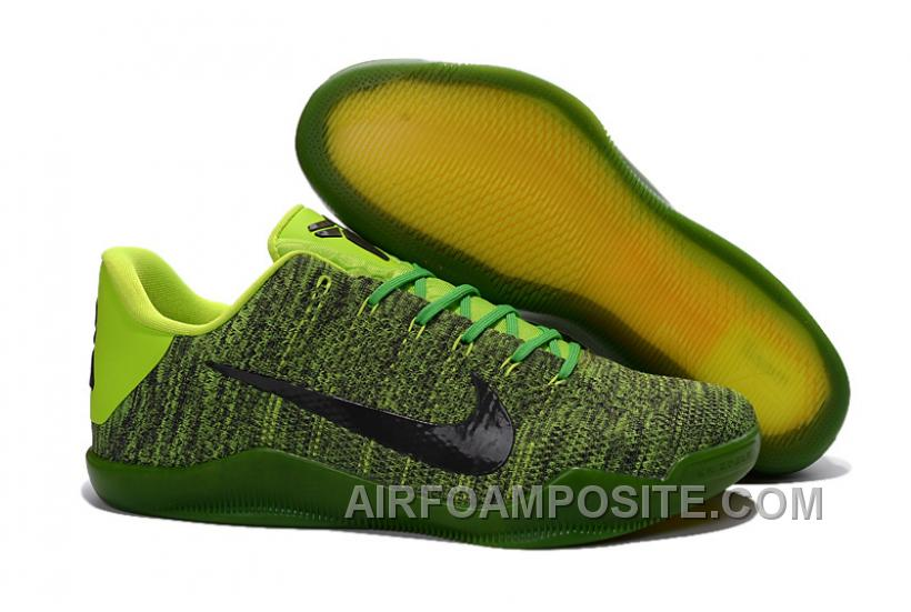 pretty nice 4a33e a1466 Nike Kobe 11 Elite Black Green Basketball Shoes For Sale Discount